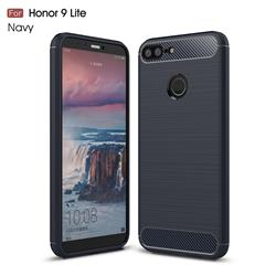 Luxury Carbon Fiber Brushed Wire Drawing Silicone TPU Back Cover for Huawei Honor 9 Lite - Navy