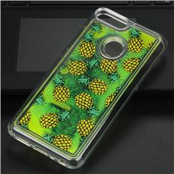 Pineapple Glassy Glitter Quicksand Dynamic Liquid Soft Phone Case for Huawei Honor 9 Lite