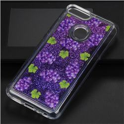 Purple Grape Glassy Glitter Quicksand Dynamic Liquid Soft Phone Case for Huawei Honor 9 Lite