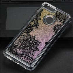 Diagonal Lace Glassy Glitter Quicksand Dynamic Liquid Soft Phone Case for Huawei Honor 9 Lite