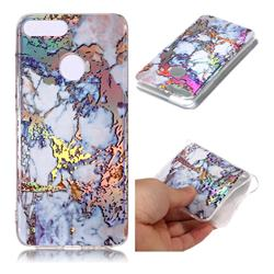 Gold Plating Marble Pattern Bright Color Laser Soft TPU Case for Huawei Honor 9 Lite