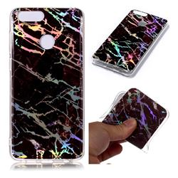 Black Brown Marble Pattern Bright Color Laser Soft TPU Case for Huawei Honor 9 Lite