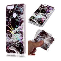 White Black Marble Pattern Bright Color Laser Soft TPU Case for Huawei Honor 9 Lite
