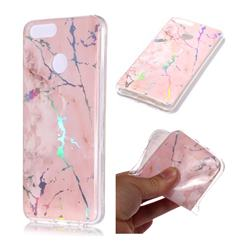 Powder Pink Marble Pattern Bright Color Laser Soft TPU Case for Huawei Honor 9 Lite