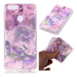 Purple Marble Pattern Bright Color Laser Soft TPU Case for Huawei Honor 9 Lite
