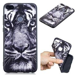 White Tiger 3D Embossed Relief Black TPU Cell Phone Back Cover for Huawei Honor 9 Lite