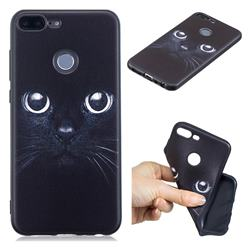Bearded Feline 3D Embossed Relief Black TPU Cell Phone Back Cover for Huawei Honor 9 Lite