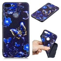 Phnom Penh Butterfly 3D Embossed Relief Black TPU Cell Phone Back Cover for Huawei Honor 9 Lite