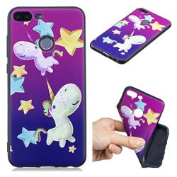 Pony 3D Embossed Relief Black TPU Cell Phone Back Cover for Huawei Honor 9 Lite