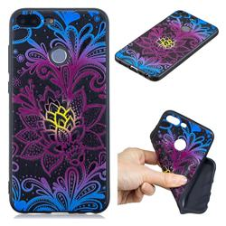Colorful Lace 3D Embossed Relief Black TPU Cell Phone Back Cover for Huawei Honor 9 Lite