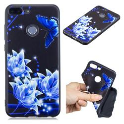 Blue Butterfly 3D Embossed Relief Black TPU Cell Phone Back Cover for Huawei Honor 9 Lite