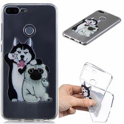 Selfie Dog Clear Varnish Soft Phone Back Cover for Huawei Honor 9 Lite