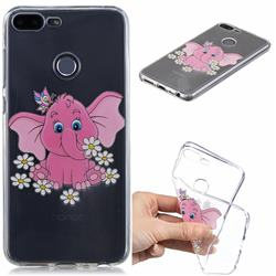 Tiny Pink Elephant Clear Varnish Soft Phone Back Cover for Huawei Honor 9 Lite