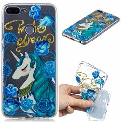 Blue Flower Unicorn Clear Varnish Soft Phone Back Cover for Huawei Honor 9 Lite
