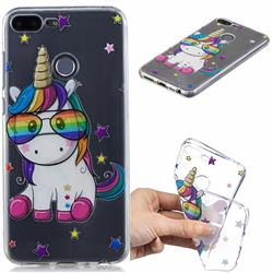 Glasses Unicorn Clear Varnish Soft Phone Back Cover for Huawei Honor 9 Lite
