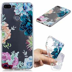 Gem Flower Clear Varnish Soft Phone Back Cover for Huawei Honor 9 Lite