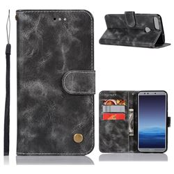 Luxury Retro Leather Wallet Case for Huawei Honor 9 Lite - Gray