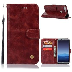 Luxury Retro Leather Wallet Case for Huawei Honor 9 Lite - Wine Red