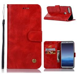 Luxury Retro Leather Wallet Case for Huawei Honor 9 Lite - Red