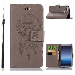 Intricate Embossing Owl Campanula Leather Wallet Case for Huawei Honor 9 Lite - Grey
