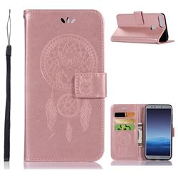 Intricate Embossing Owl Campanula Leather Wallet Case for Huawei Honor 9 Lite - Rose Gold