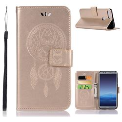 Intricate Embossing Owl Campanula Leather Wallet Case for Huawei Honor 9 Lite - Champagne