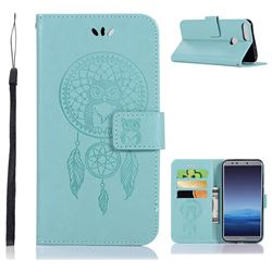 Intricate Embossing Owl Campanula Leather Wallet Case for Huawei Honor 9 Lite - Green