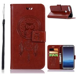 Intricate Embossing Owl Campanula Leather Wallet Case for Huawei Honor 9 Lite - Brown