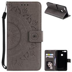 Intricate Embossing Datura Leather Wallet Case for Huawei Honor 9 Lite - Gray