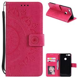 Intricate Embossing Datura Leather Wallet Case for Huawei Honor 9 Lite - Rose Red