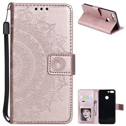 Intricate Embossing Datura Leather Wallet Case for Huawei Honor 9 Lite - Rose Gold
