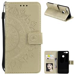 Intricate Embossing Datura Leather Wallet Case for Huawei Honor 9 Lite - Golden