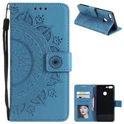 Intricate Embossing Datura Leather Wallet Case for Huawei Honor 9 Lite - Blue
