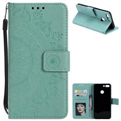 Intricate Embossing Datura Leather Wallet Case for Huawei Honor 9 Lite - Mint Green