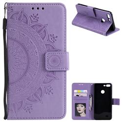 Intricate Embossing Datura Leather Wallet Case for Huawei Honor 9 Lite - Purple