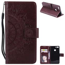 Intricate Embossing Datura Leather Wallet Case for Huawei Honor 9 Lite - Brown