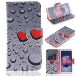 Heart Raindrop PU Leather Wallet Case for Huawei Honor 9 Lite