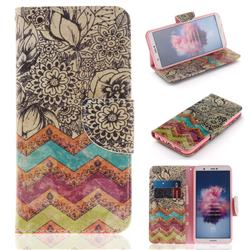 Wave Flower PU Leather Wallet Case for Huawei Honor 9 Lite