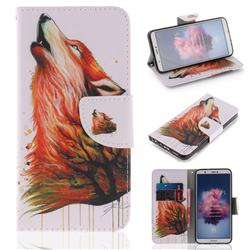 Color Wolf PU Leather Wallet Case for Huawei Honor 9 Lite