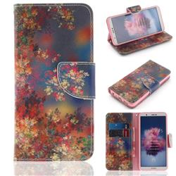Colored Flowers PU Leather Wallet Case for Huawei Honor 9 Lite