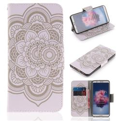 White Flowers PU Leather Wallet Case for Huawei Honor 9 Lite
