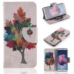 Colored Tree PU Leather Wallet Case for Huawei Honor 9 Lite