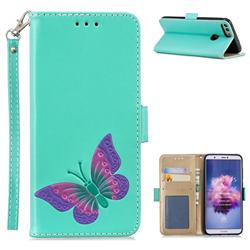Imprint Embossing Butterfly Leather Wallet Case for Huawei Honor 9 Lite - Mint Green