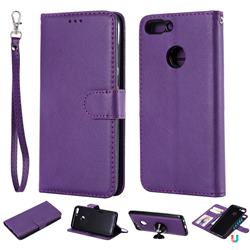 Retro Greek Detachable Magnetic PU Leather Wallet Phone Case for Huawei Honor 9 Lite - Purple