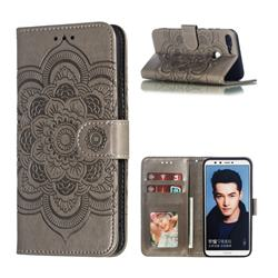 Intricate Embossing Datura Solar Leather Wallet Case for Huawei Honor 9 Lite - Gray