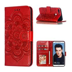 Intricate Embossing Datura Solar Leather Wallet Case for Huawei Honor 9 Lite - Red