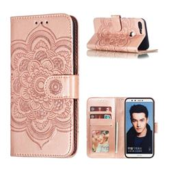 Intricate Embossing Datura Solar Leather Wallet Case for Huawei Honor 9 Lite - Rose Gold