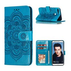 Intricate Embossing Datura Solar Leather Wallet Case for Huawei Honor 9 Lite - Blue
