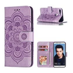 Intricate Embossing Datura Solar Leather Wallet Case for Huawei Honor 9 Lite - Purple