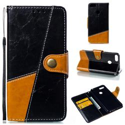 Retro Magnetic Stitching Wallet Flip Cover for Huawei Honor 9 Lite - Black